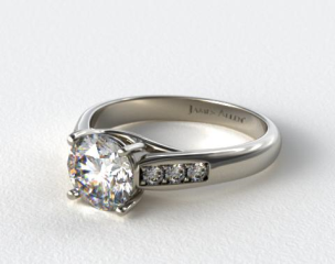 14k White Gold Cross Prong Cathedral Style Diamond Engagement Ring
