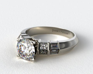 Platinum Knife-Edge Princess and Baguette Diamond Engagement Ring