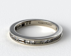 Platinum Alternating Baguette and Round Diamond Wedding Ring