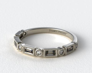 Platinum Round and Baguette Vintage Milgrain Diamond Wedding Ring