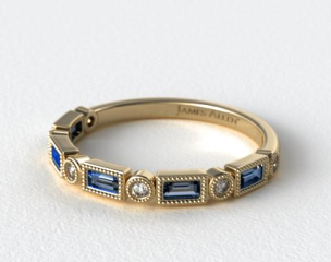 14K Yellow Gold Round and Sapphire Baguette Vintage Milgrain Diamond Wedding Ring