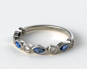 18K White Gold Round Brilliant Diamond and Marquise Sapphire Wedding Ring