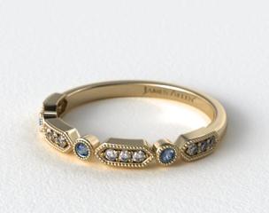 14K Yellow Gold Blue Sapphire and Diamond Arrow Shape Wedding Ring