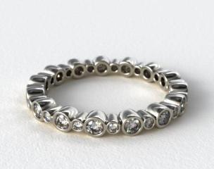 18K White Gold Alternating Bezel Eternity Wedding Ring