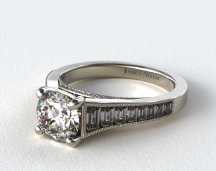 18K White Gold Tapered Baguette Diamond Engagement Ring
