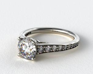 14k White Gold Inspired Diamond Engagement Ring