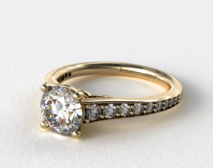 14k Yellow Gold Inspired Diamond Engagement Ring