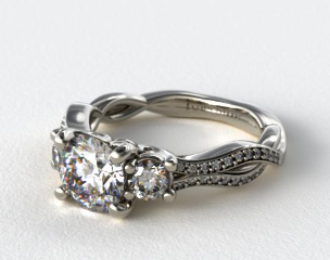 18K White Gold Open Wire Diamond Engagement Ring