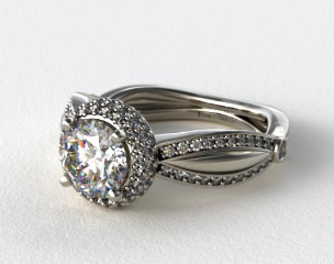 Platinum Double Halo Diamond Engagement Ring