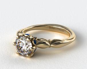 14K Yellow Gold Sapphire Bezel Diamond Engagement Ring