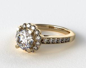 18K Yellow Gold Scallop Diamond Halo Engagement Ring