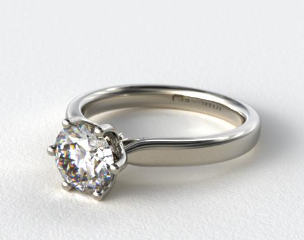 14K White Gold Intricate Basket Solitaire Engagement Ring