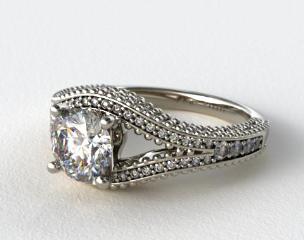 Platinum Soft Floral Diamond Engagement Ring