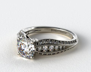 14K White Gold Three Row Pinched Pave Diamond Engagement Ring