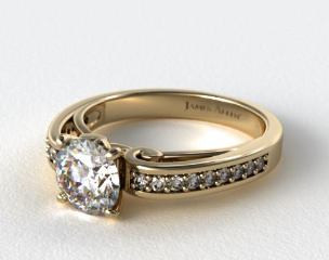 18K Yellow Gold Arched Scroll Diamond Engagement Ring