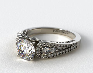 14K White Gold Pave Double Loop Engagement Ring