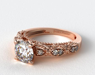 14K Rose Gold Beaded Open Span Diamond Engagement Ring