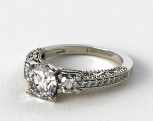Platinum Floral Scroll Engagement Ring