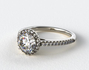 18K White Gold Petite Diamond Halo Engagement Ring