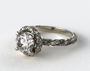 14K White Gold Twisted Pave Halo Engagement Ring