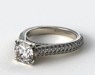 Pave Tapered Cathedral Engagement Ring
