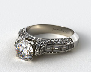 Baguette and Pave Diamond Engagement Ring