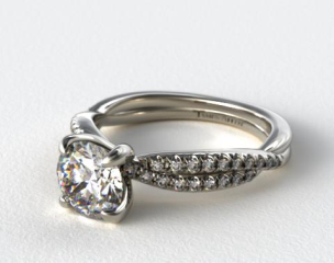 18K White Gold Pave Twist Engagement Ring