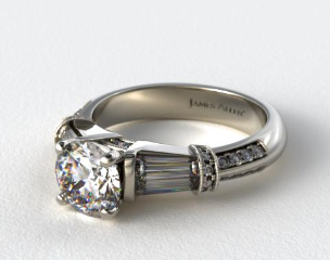 18K White Gold Tapered Baguette Diamond Engagement Ring