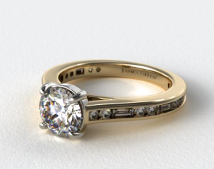 18K Yellow Gold Alternating Baguette and Round Diamond Engagement Ring