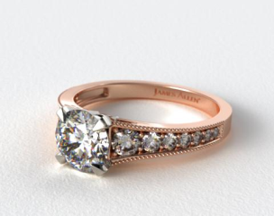 14K Rose Gold Reverse Taper Milgrain Diamond Engagement Ring