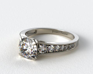 18K White Gold Reverse Taper Milgrain Diamond Engagement Ring