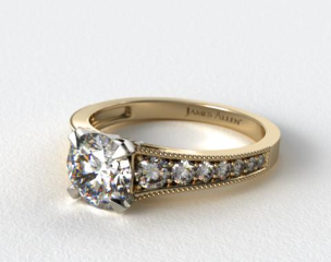 18K Yellow Gold ReverseTaper Milgrain Diamond Engagement Ring