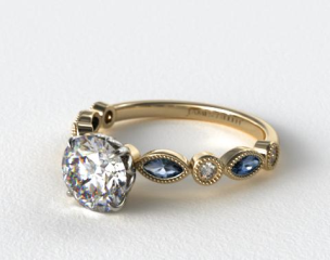14K Yellow Gold Vintage Round Diamond and Marquise  Sapphire Engagement Ring