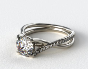 14K White Gold Single Pave Cross Over Diamond Engagement Ring