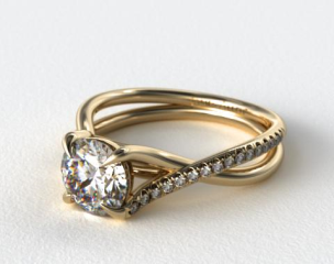 14K Yellow Gold Single Pave Cross Over Diamond Engagement Ring