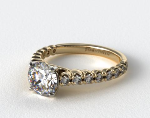 18K Yellow Gold Scallop Style Diamond Engagement Ring