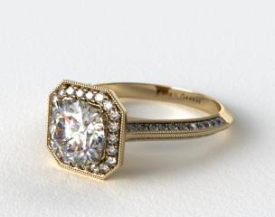 14K Yellow Gold Octagon Halo Diamond Engagement Ring