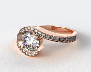 14K Rose Gold Bypass Pave Set Diamond Engagement Ring