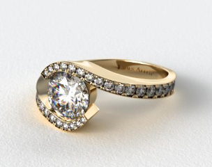 14K Yellow Gold Bypass Pave Set Diamond Engagement Ring