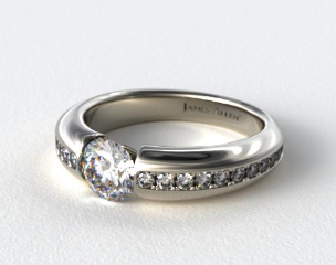 Platinum Bar-Set Pave Set Diamond Engagement Ring