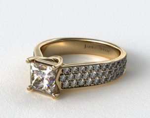 18k Yellow Gold Cross-Prong Pave Set Diamond Engagement Ring