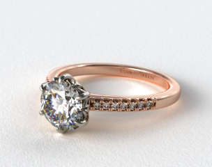 14K Rose Split Prong Diamond Engagement Ring