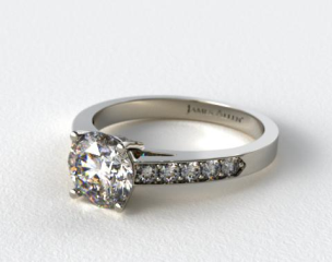 18k White Gold Pave Set Surprise Diamond Engagement Ring