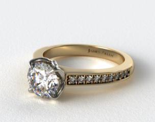 14K Yellow Gold Bead Set Cathedral Diamond Engagement Ring