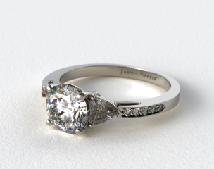 14k White Gold Three Stone Trillion and Pave Set Diamond Engagement Ring