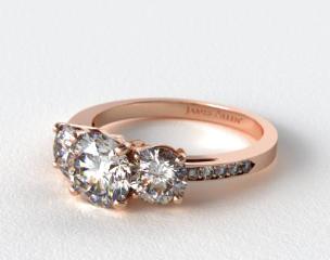 14K Rose  Gold Three Stone Round and Pave Set Diamond Engagement Ring