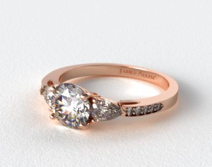 14K Rose Gold Three Stone Pear and Pave Set Diamond Engagement Ring