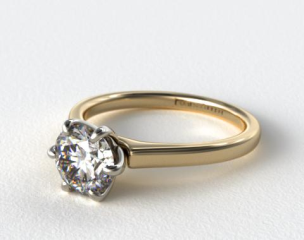 18K Yellow Gold Tapered Six Prong Diamond Engagement Ring
