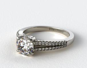 14K White Gold Cross Over Trellis Pave Diamond Split Shank Engagement Ring
