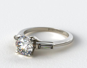 14K White Gold Tapered Baguette Diamond Engagement Ring